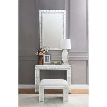 ACME Nysa Vanity Desk in Mirrored and Faux Crystals