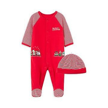 Little Me Boys' 2-Piece Holiday Coverall & Hat Cotton Set - Baby
