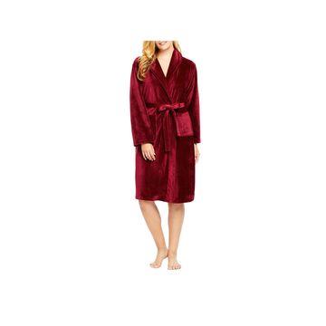Gloria Vanderbilt Long Sleeve Knee Length Womens Velour Robe