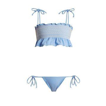 Lisa Marie Fernandez - Selena Smocked Bikini - Womens - Blue