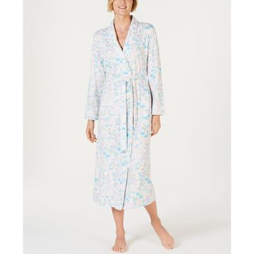 Cottonessa Printed Long-Sleeve Knit Robe