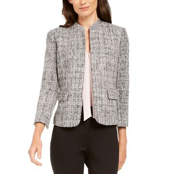 Ann Klein Tweed Mandarin-Collar Jacket