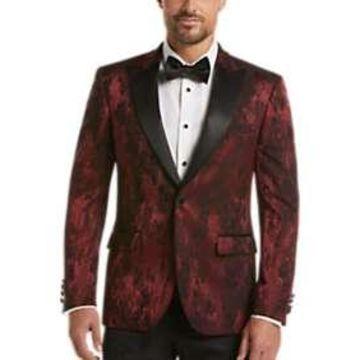 Egara Burgundy & Black Floral Dinner Jacket