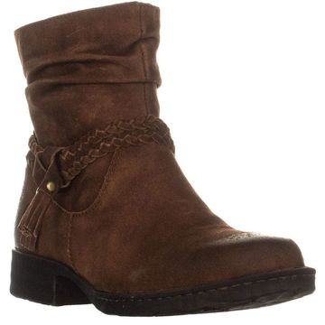 Born Womens Ouvea Leather Round Toe Ankle Fashion Boots