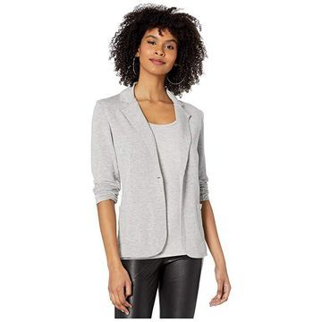 Majestic Filatures French Terry One Button Blazer (Gris Chine Clair) Women's Clothing