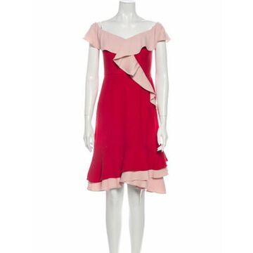 Colorblock Pattern Knee-Length Dress Red