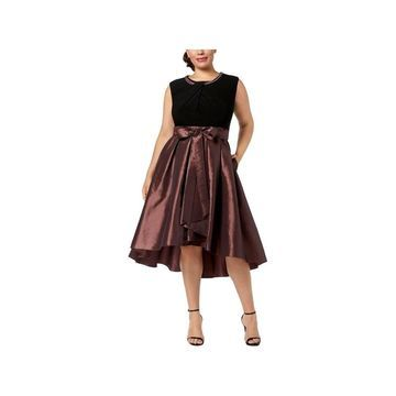 SL Fashions Womens Plus Cocktail Dress Pearl Neck Embelished