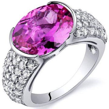 6.25 Carat T.G.W. Created Pink Sapphire Rhodium-Plated Sterling Silver Engagement Ring