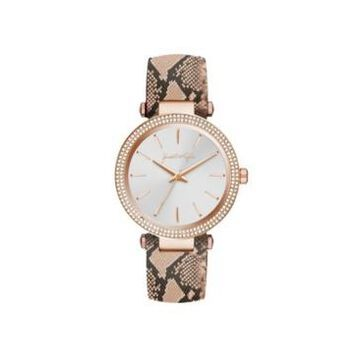 Women's Kendall + Kylie Rose Gold Tone with Blush Snakeskin Stainless Steel Strap Analog Watch 40mm