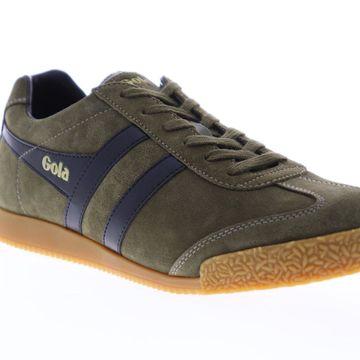 Gola Harrier Suede Khaki Black Mens Low Top Sneakers