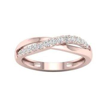 De Couer 10k Gold 1/5ct TDW Diamond Cross Over Promise Ring
