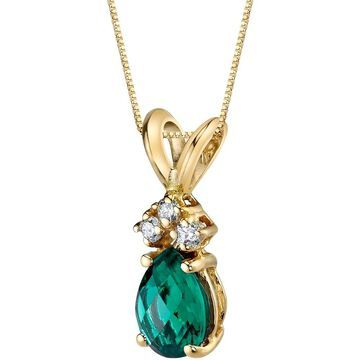 Oravo 14 Karat Yellow Gold Pear Shape 0.50 Carats Created Emerald Diamond Pendant - Silver