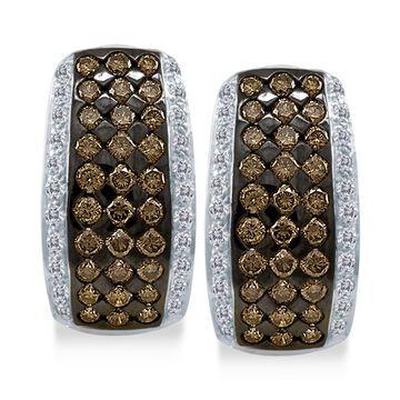 Chocolatier& Diamond Hoop Earrings (2 ct. t.w.) in 14k White Gold