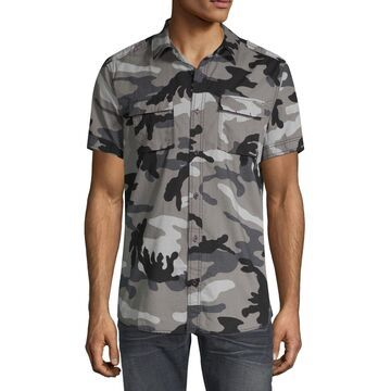 i jeans by Buffalo Mens Short Sleeve Camouflage Button-Front Shirt