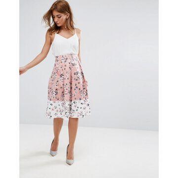 Vesper Midi Skirt In Floral Print With Contrast Border