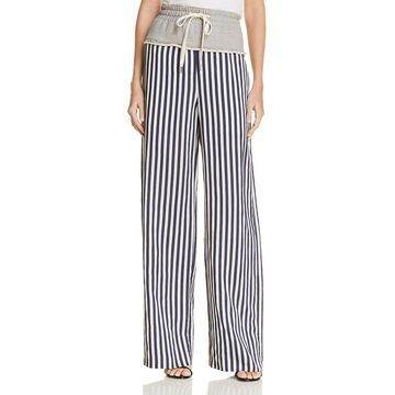 T by Alexander Wang Womens Striped Mixed Media Lounge Pants