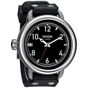 Nixon A488000 October Black Rubber Band With Black Analog Dial Genuine Watch NWT