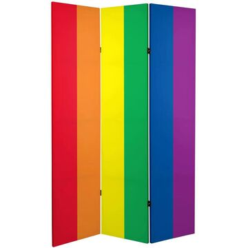 Oriental Furniture 3-Panel Printed Fabric Folding Contemporary/Modern Style Room Divider | CAN-RAINBOW