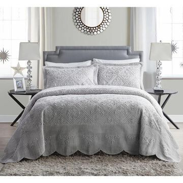 VCNY Westland Quilted Plush 3-piece Queen Size Bedspread Set in Ivory (As Is Item)