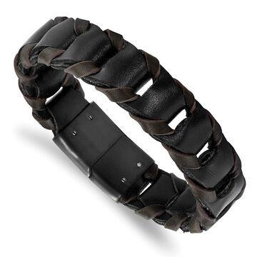 Chisel Stainless Steel Black IP-plated Black and Brown Leather 8.25 Inch Bracelet (8.25 Inch - White)