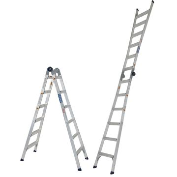 COSCO 2-in-1 Step and Extension Ladder 12-foot 11-inches tall, Aluminum, Multi-Position, 300-Pound Capacity, ANSI Type 1A