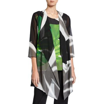Petite Long Palm-Print Georgette Draped Jacket