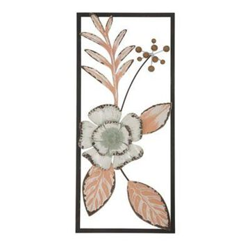 Stratton Home Decor Tropical Flower 28-Inch x 12-Inch Wall Panel in Peach