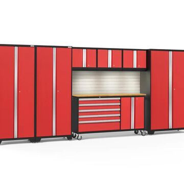 NewAge Products Bold Series 174-in W x 77.25-in H Deep Red Steel Garage Storage System | 56347