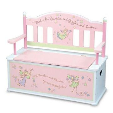 Wildkin Kid's Fairy Wishes Bench Seat with Storage in Pink