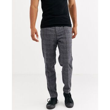 Selected Homme wool mix regular fit pants in gray prince of wales check