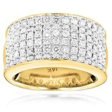 Luxurman 14k Gold Women's 2ct TDW Diamond Wide Wedding Band