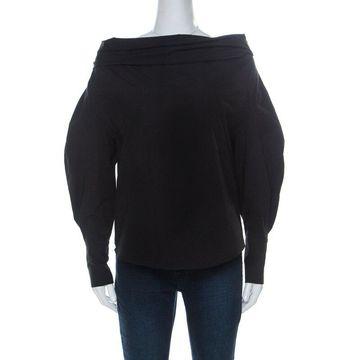 Emilio Pucci Black Stretch Cotton Off Shoulder Shirt S