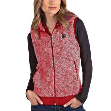 Women's Antigua Heathered Red Atlanta Falcons Fame Hooded Full-Zip Vest