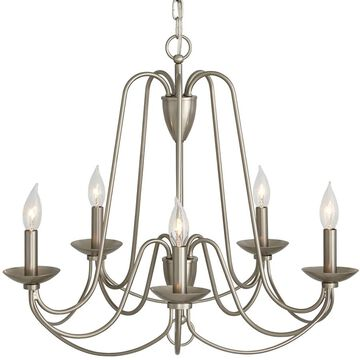 allen + roth Wintonburg 5-Light Brushed Nickel French Country/Cottage Candle Chandelier