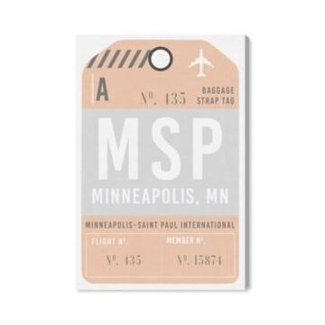 "Oliver Gal Minneapolis Luggage Tag Canvas Art - 36"" x 24"" x 1.5"""