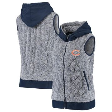Women's Antigua Heathered Navy Chicago Bears Fame Hooded Full-Zip Vest