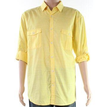 Alfani Mens Roll Tab Sleeves Slub Button Up Shirt