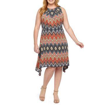London Times Sleeveless Geometric Fit & Flare Dress-Plus
