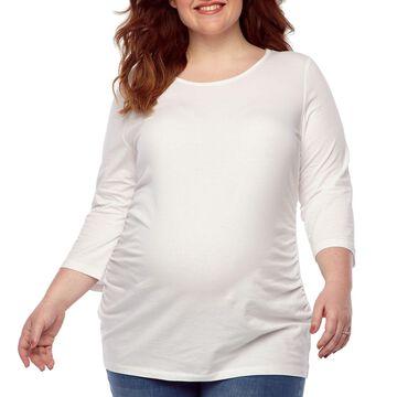 Belle & Sky Maternity 3/4 Sleeve Scoop Neck Tee - Plus