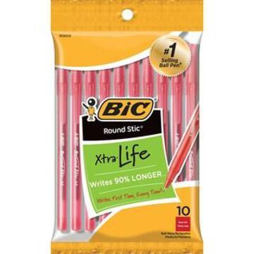 BiC Round Stic Xtra Life Red Ball Pen, 12 Packs