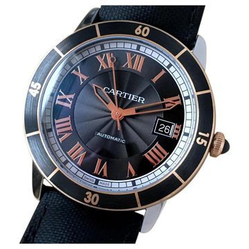 Cartier Ronde Louis Cartier Black gold and steel Watches