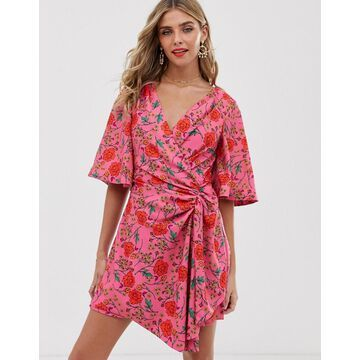 Finders Keepers Hana floral print wrap mini dress-Pink