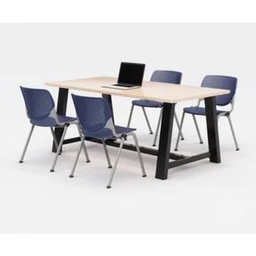 KFI Midtown Office Table Set, Maple Top, 4 KOOL Chairs (Navy Chairs)