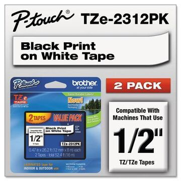 """TZe Standard Adhesive Laminated Labeling Tapes, 0.47"""" x 26.2 ft, Black on White, 2/Pack"""