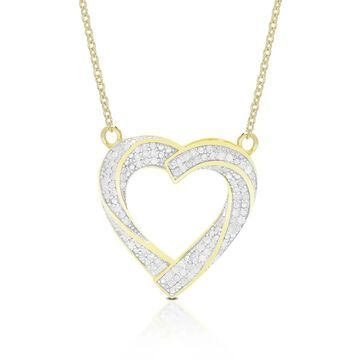 Finesque Sterling Silver 1/2ct TDW Diamond Heart Pendant Necklace