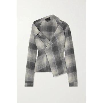 RtA - Lizbeth Asymmetric Checked Flannel Wrap Shirt - Gray