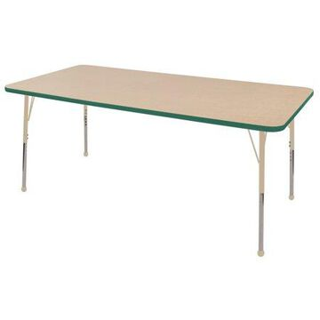 ECR4Kids 36in x 72in Rectangle Everyday T-Mold Adjustable Activity Table Maple/Green/Sand - Toddler Ball