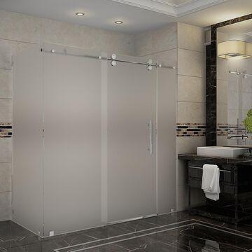 Aston Langham 75-in H x 68-in to 72-in W Frameless Sliding Chrome Shower Door (Frosted Glass) Stainless Steel   SEN979FCH7210