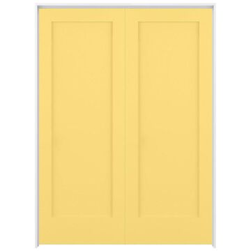 ReliaBilt Shaker 56-in x 80-in Marigold 1-Panel Solid Core Prefinished Pine MDF Universal Inswing Double Prehung Interior Door in Yellow