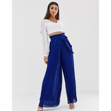 TFNC pleated wide leg pants with tie waist in cobalt